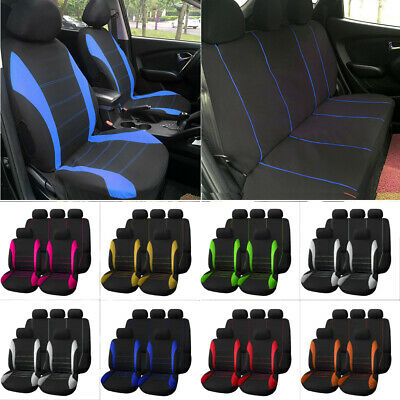 9pcs Universal Car Seat Cover Front Rear Head Rests Full Set Auto Vehicle Tools