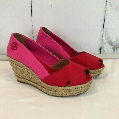 6411d2875 Tory Burch Filipa Red Pink Colorblock Linen Espadrille Wedges Size 6