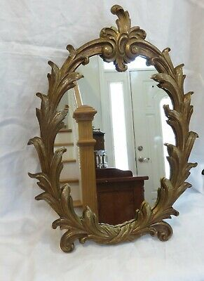 "Vintage Syroco Wood Ornate Oval 17.5"" X 12.5"" Mirror"