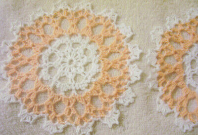 peach and white set crocheted doily by Aeshagirl