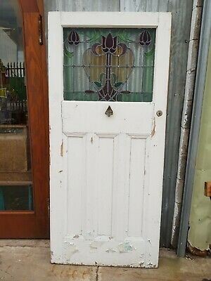 Antique Wooden Art Nouveau Floral Leaded Stained Glass Door
