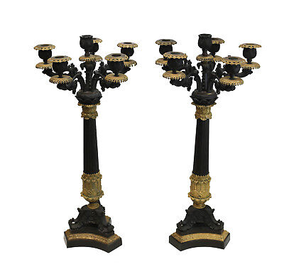 "French Charles X Patinated Gilt Bronze 6 Light Candelabra, 19th Century 26"" Tall"