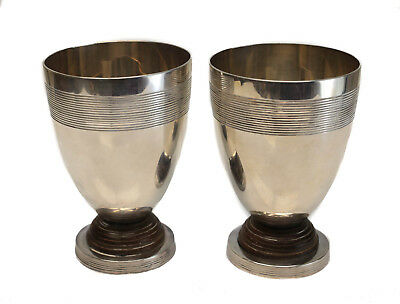 2 Christofle Silverplate and Wood Small Footed Beakers, circa 1920