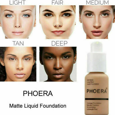 PHOERA Liquid Foundation LongLasting Matte Coverage  Shade Makeup Concealer 30ML