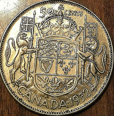 1952 Canada Silver 50 Cents Fifty Cents George Vi Half Dollar