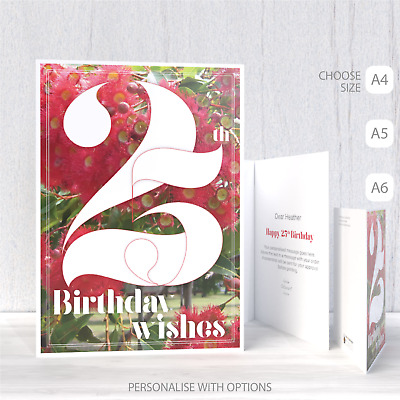25th Birthday Wishes Card For Her 25 Typography Red Flowers