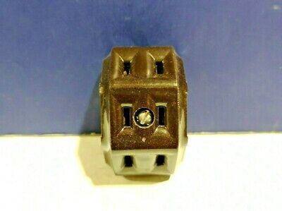 3-PK Leviton BROWN Bakelite Triple Radial Surface Mount Outlet 325 NEW WOW!