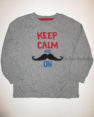 Gymboree London Lad Keep Calm and Mustache On Tee Shirt Top Boys 3T NEW NWT