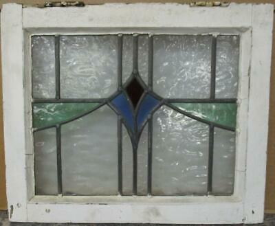 "OLD ENGLISH LEADED STAINED GLASS WINDOW Gorgeous Geometric Sweep 18"" x 14.75"""