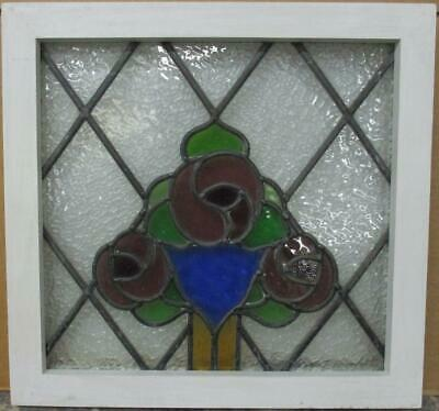 "OLD ENGLISH LEADED STAINED GLASS WINDOW Stunning Diamond Leaded Floral 19"" x 18"""