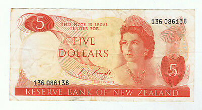 New Zealand $5 Paper Banknote