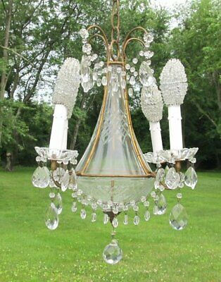 Small Vintage Antique Macaroni Beaded Prism Cut Glass Crystal Italy Chandelier