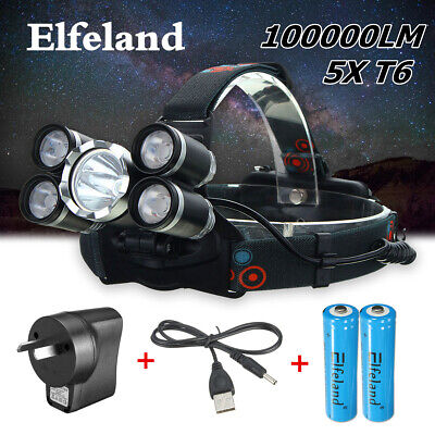 100000LM 5x T6 LED Rechargeable Headlamp 4Mode 18650 Head Light Lamp Charger SET