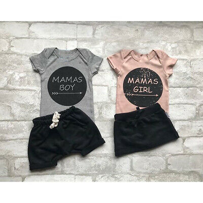 Newborn MAMAS BOY GIRL Baby Clothes Tops Romper+Short Skirts 2PCS Outfits Set