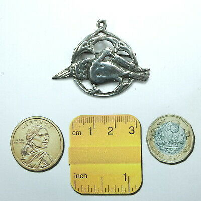 Antique Art Deco Solid Silver Celtic Bird Brooch/Pin or Pendant Marked SILVER