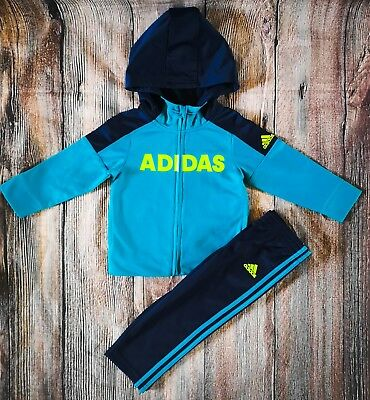 0829a084 Baby Boys Adidas Tracksuit 12-18 Months Hoodie & Joggers Full Set NEW