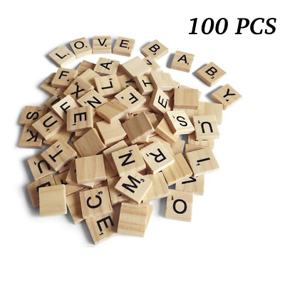 100pcs Wooden Scrabble Tiles Capital Letters Board Toy Alphabet WoodenBoard Game