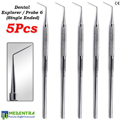 Dental Probe No# 6 Single/Ended Explorer Tooth Scraper Tartar Remover Plaque X5