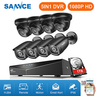 SANNCE 1080N 8CH DVR Outdoor IR Night Vision CCTV Security Camera System 1TB HDD
