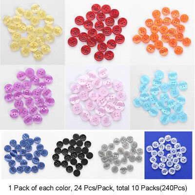 4 Holes Round Resin Buttons 240pcs Lot Mix Size DIY Scrapbooking Sewing Craft