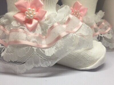 Handmade pink organza trim frilly lace socks baby/girls
