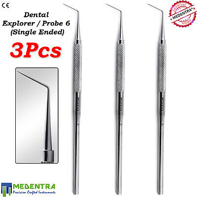 3 Pcs Single Ended Dental Probe #6 Endodontic Explorer Dentist Examination Tools
