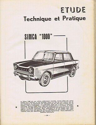 ▬►RTA REVUE TECHNIQUE  AUTOMOBILE de 1962  SIMCA 1000