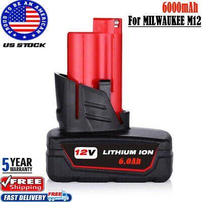 For Milwaukee12 Volt  M12 48-11-2460 Extended Capacity Battery LITHIUM ION XC6.0