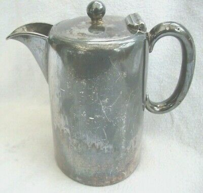 Antique Country House Silver Plate Epbm Coffee Pot Hot Water Jug Hinged Lid Prop