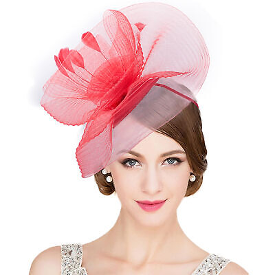 Womens Feather Flower Crin Fascinator Hat Kentucky Derby Royal Ascot Party T317