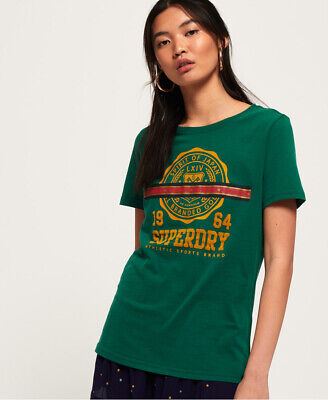New Womens Superdry Heritage Crest Tape T-Shirt Pine Green