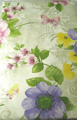 Floral & Butterflies Flannel Back Vinyl Tablecloth  Assorted Sizes Multi Color