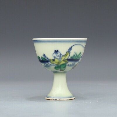 "3"" Chinese antique Porcelain Ming chenghua mark doucai Children High foot cup"