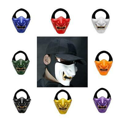 Half Tactical Airsoft Mask Evil Demon Kabuki Hannya Oni Party Cosplay Costume AU