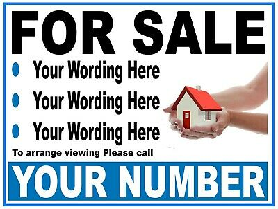 2 House For Sale Boards Personalised Separate or Bonded Quick Turnaround FREE PP