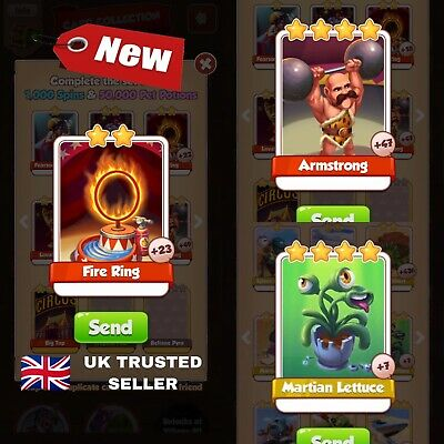 Coin master Card Super Bundle Martian Lettuce, Armstrong And Fire Ring! 🇬🇧🇬🇧