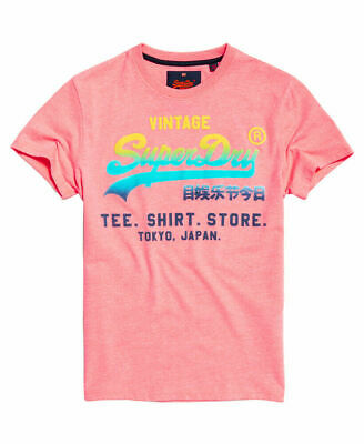 New Mens Superdry Vintage Logo Hyper Fade T-Shirt Hyper Shocker Pink