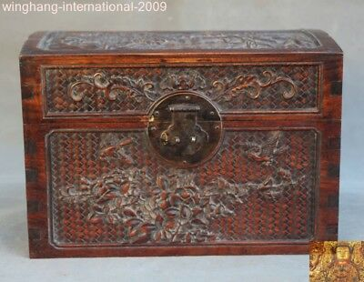 old Chinese huanghuali wood carving flower bird statue jewelry Storage box boxes