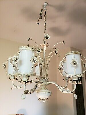 Vintage Italian Gilt Tole Chandelier Ceiling Light 6 Arm Glass Globes Flowers