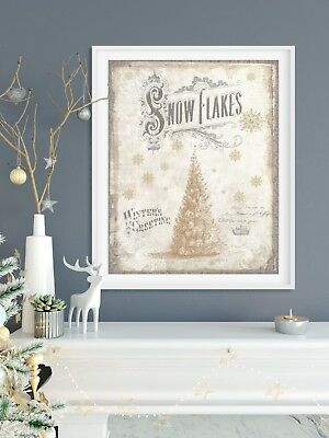Snowflakes and Gold Tree Christmas Canvas Print