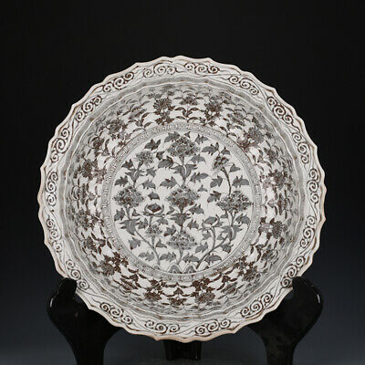 """19"""" Fine Chinese old antique Porcelain Ming hongwu Underglaze red peony plate"""