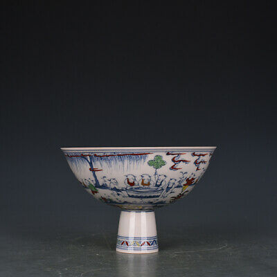 "6"" Chinese antique Porcelain Ming chenghua mark doucai Children High foot bowl"