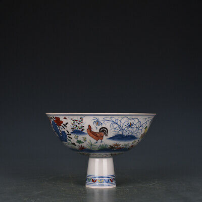 "6"" Chinese antique Porcelain Ming chenghua mark doucai chicken High foot bowl"