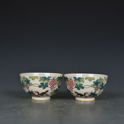 """4"""" Yongzheng mark Chinese antique Porcelain famille rose Squirrel grape Cup"""