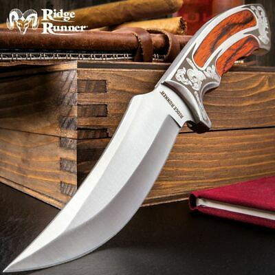 """10"""" Ridge Runner Executive Wooden Bowie Knife Hunting Fixed Blade w Sheath NEW"""