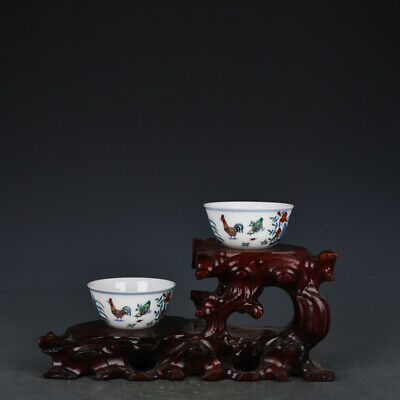 "3"" A pair Chinese antique Porcelain Ming chenghua mark doucai chicken teacup"