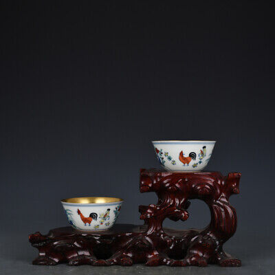 """3"""" A pair China old Porcelain Ming chenghua mark gilt gold doucai chicken cup"""