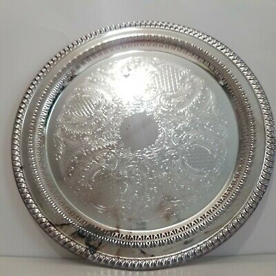 "Vintage Leonard Silver Plate 15"" Large Serving Tray"