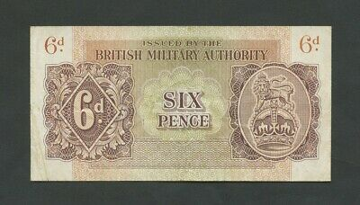 BRITISH MILITARY AUTHORITY  6d  WWII  Krause M1  F-VF  Banknotes
