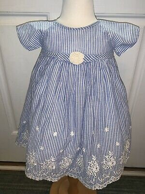 0ef5ae1942a0d Laura Ashley London Baby Girl Dress 18 Months Blue Striped White Lce Fully  Lined